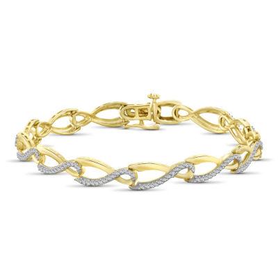 Womens 7 1/2 Inch Diamond Accent White Diamond Brass Link Bracelet