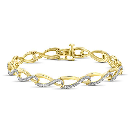 14K Gold Over Brass 7.5 Inch Solid Round Link Bracelet, One Size