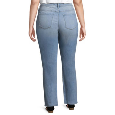 Arizona High-Rise Straight Leg Jeans-Juniors Plus