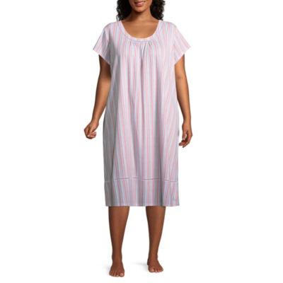 Adonna Jersey Short Sleeve Round Neck Nightgown-Plus