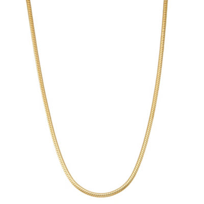 14K Gold Over Silver Solid Snake 20 Inch Chain Necklace