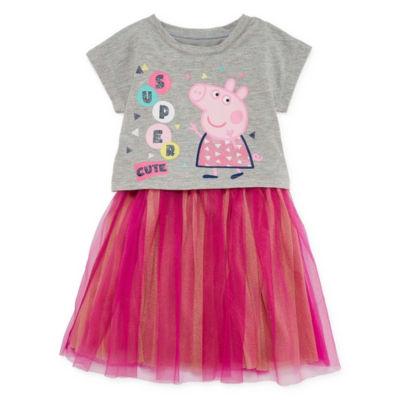 Sleeveless Dolman Sleeve Peppa Pig Animal A-Line Dress - Toddler Girls