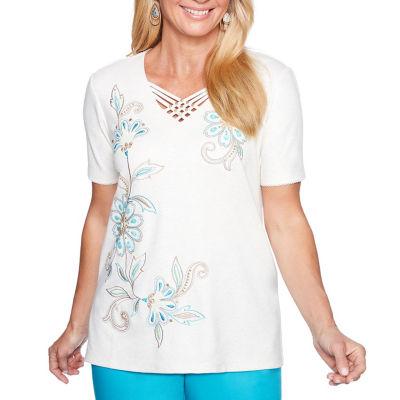 Alfred Dunner Scottsdale Short Sleeve V Neck Floral T-Shirt-Womens