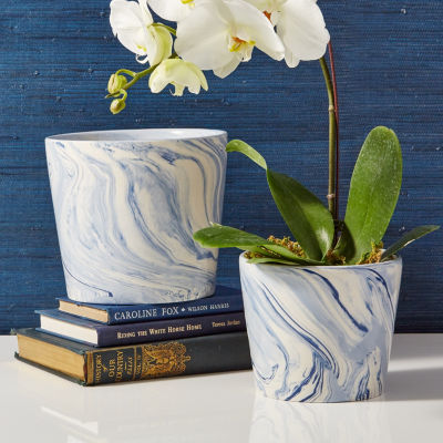Two's Company Set Of 2 Blue Tapered Containers