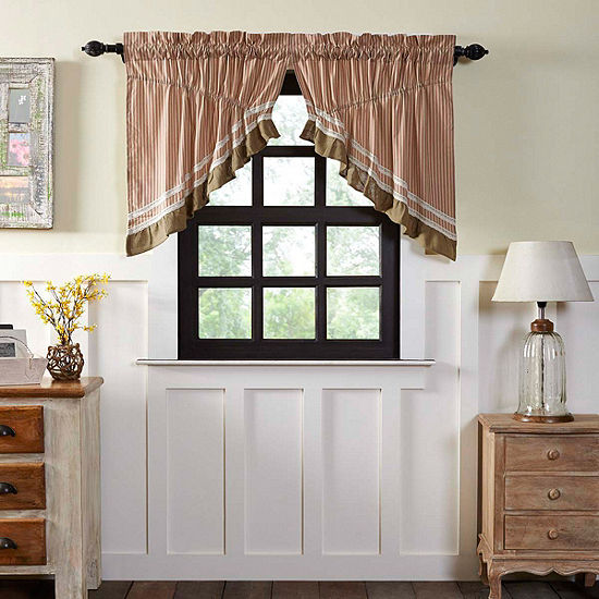 Farmhouse Window Kendra Stripe Prairie Swag Pair