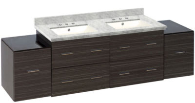 76-in. W Wall Mount Dawn Grey Vanity Set For 3H8-in. Drilling Bianca Carara Top Biscuit UM Sink