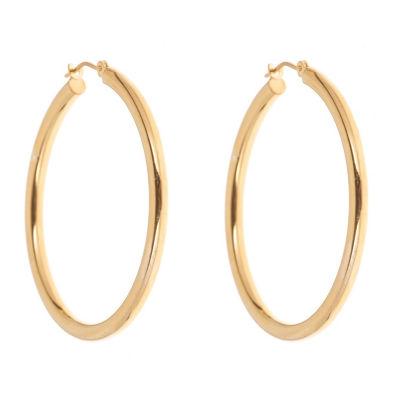 14K GOLD OVER SILVER 36mm Round Hoop Earrings