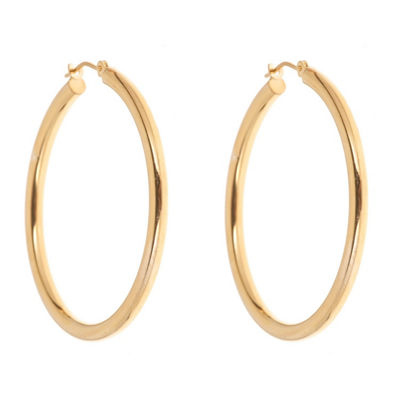 14K GOLD OVER SILVER 36mm Round Hoop Earrings