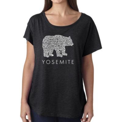 Los Angeles Pop Art Women's Loose Fit Dolman Cut Word Art Shirt - Yosemite Bear