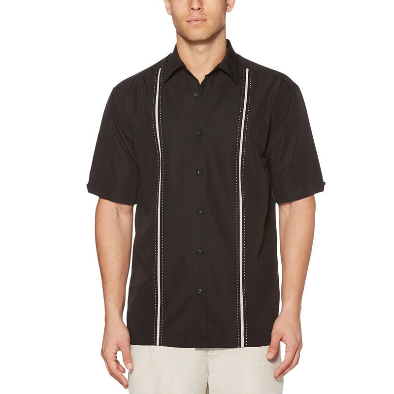 Vintage Mens Clothing | Retro Clothing for Men Cubavera Mens Short Sleeve Button-Front Shirt Big and Tall Size Large Tall Black $42.00 AT vintagedancer.com