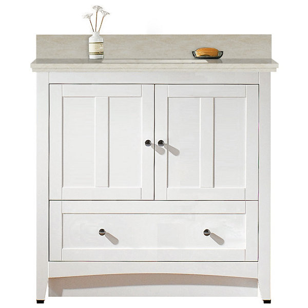 36-in. W Floor Mount White Vanity Set For 3H8-in.Drilling Beige Top White UM Sink