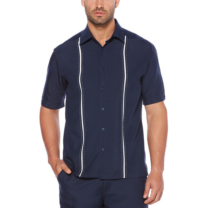 Mens Vintage Shirts – Casual, Dress, T-shirts, Polos Cubavera Mens Short Sleeve Button-Front Shirt Big and Tall Size Large Tall Blue $42.00 AT vintagedancer.com