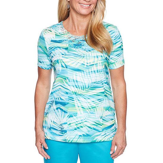 Alfred Dunner Scottsdale-Womens Crew Neck Short Sleeve T-Shirt