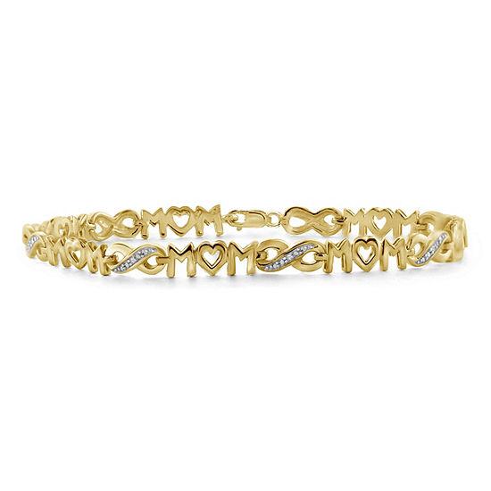 """""""Mom"""" 14K Gold Over Brass 8 Inch Solid Round Link Bracelet"""