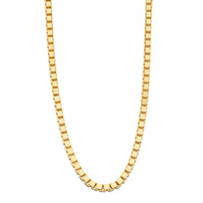 14K Gold Over Silver 20 Inch Solid Box Chain Necklace