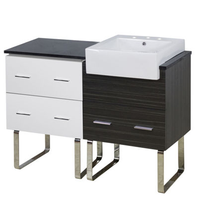 48.75-in. W Floor Mount White-Dawn Grey Vanity SetFor 3H8-in. Drilling Black Galaxy Top