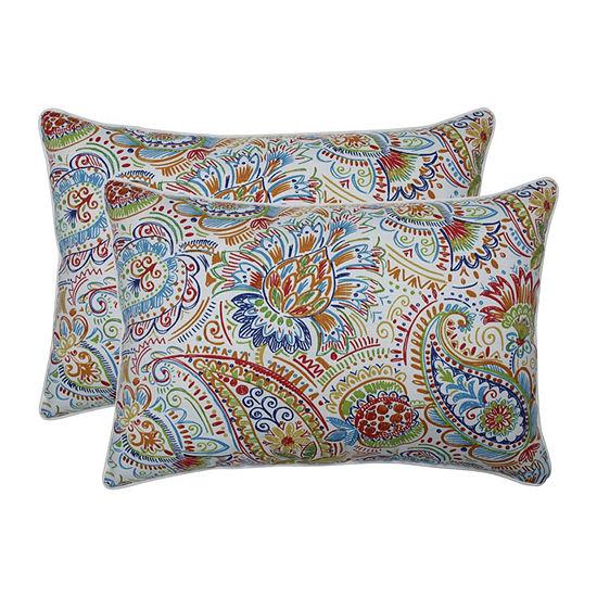 Pillow Perfect Gilford Festival Set of 2 Oversized Rectangular Outdoor Throw Pillows