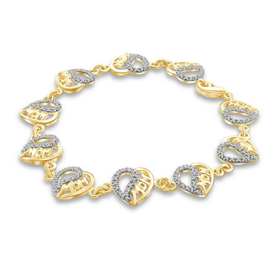 Diamond Accent White Diamond 14K Gold Over Brass Heart 7.5 Inch Tennis Bracelet