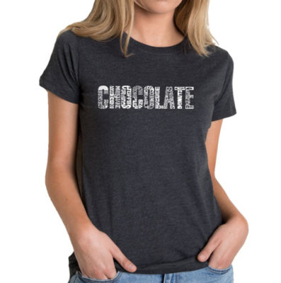 Los Angeles Pop Art Women's Premium Blend Word ArtT-shirt - Different foods made with chocolate