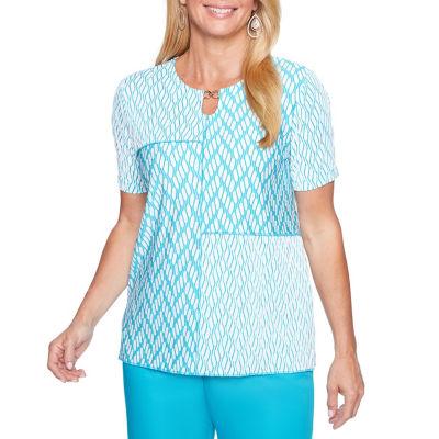 Alfred Dunner Scottsdale Short Sleeve Keyhole Neck Patchwork T-Shirt-Womens