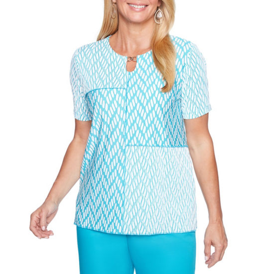 Alfred Dunner Scottsdale Short Sleeve Keyhole Neck Patchwork T-Shirt-Womens