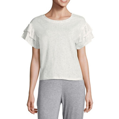 Ambrielle Womens Ruffled Sleeve Pajama Top