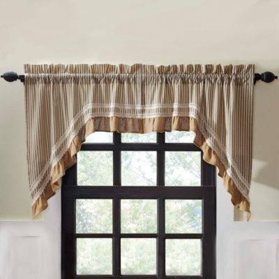 Farmhouse Window Kendra Stripe Swag Pair