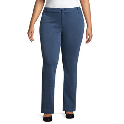 St. John's Bay Sateen Straight Leg Trouser - Plus