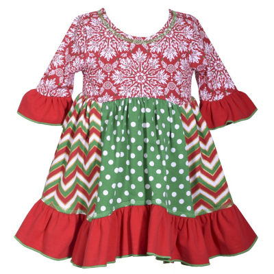 Bonnie Jean Elbow Sleeve Holiday A-Line Dress - Baby Girls