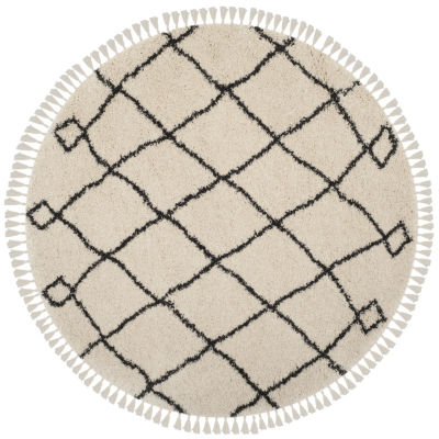 Safavieh Moroccan Fringe Shag Collection Atanas Geometric Round Area Rug