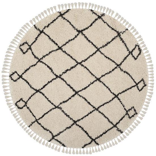 Safavieh Moroccan Fringe Shag Collection Atanas Geometric Round Area Rug