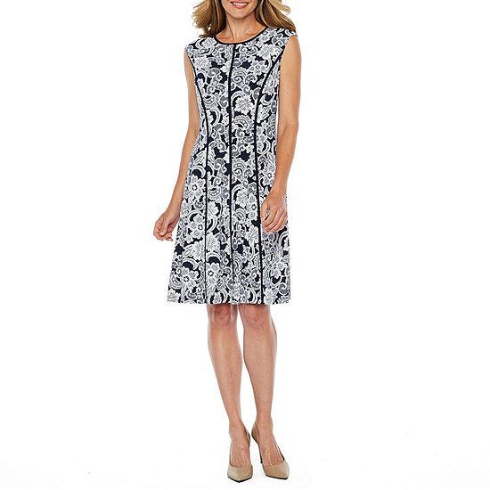 Studio 1 Sleeveless Floral Midi Fit & Flare Dress
