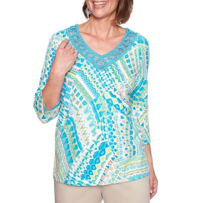 Alfred Dunner Scottsdale 3/4 Sleeve V Neck Patchwork T-Shirt-Womens