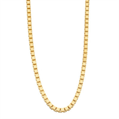 14K Gold Over Silver Solid Box 24 Inch Chain Necklace
