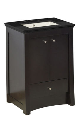 23.75-in. W Floor Mount Distressed Antique WalnutVanity Set For 3H8-in. Drilling Black Galaxy Top Biscuit UM Sink