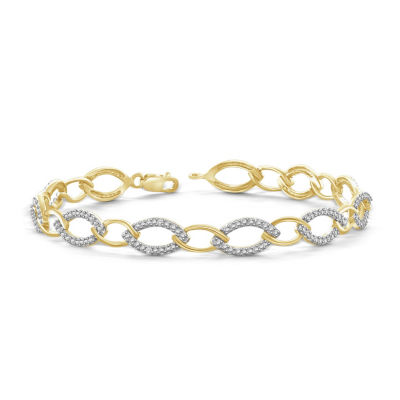 Womens 7 1/4 Inch Diamond Accent White Diamond Brass Link Bracelet