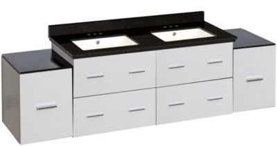 74-in. W Wall Mount White Vanity Set For 3H4-in. Drilling Black Galaxy Top Biscuit UM Sink