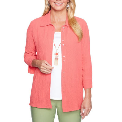 Alfred Dunner Parrot Cay 3/4 Sleeve Layered Top