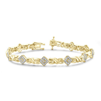 Womens 7 1/4 Inch Diamond Accent White Diamond Brass Link Bracelet