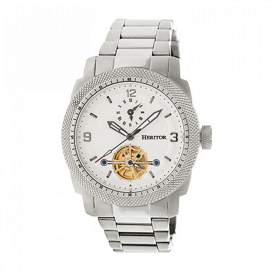 Heritor Helmsley Mens Automatic Silver Tone Stainless Steel Bracelet Watch-Herhr5001