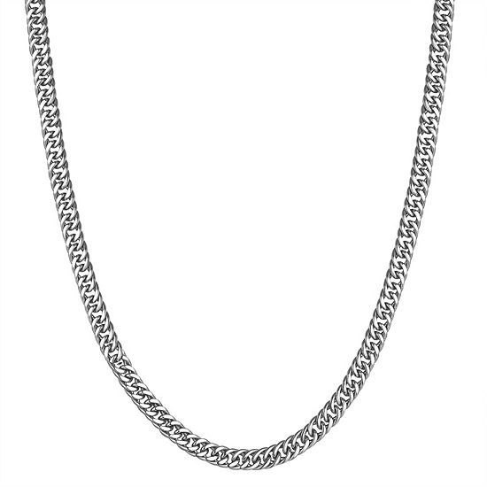 Sterling Silver Semisolid Curb Chain Necklace