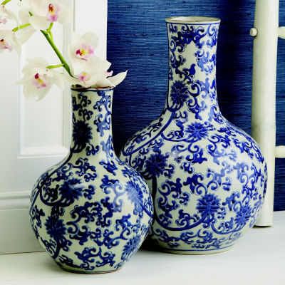 Two's Company Blue And White Set Of 2 Lotus FlowerStraight Collar Vase