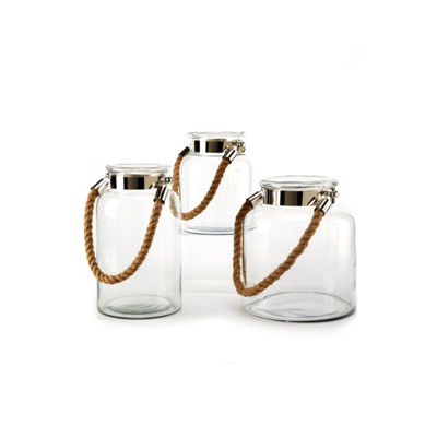 Two's Company Set Of 3 Lanterns With Rope Handle