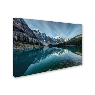 Trademark Fine Art Pierre Leclerc Moraine Lake Reflection Giclee Canvas Art