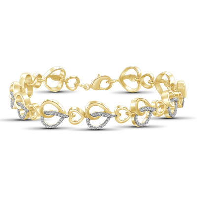 Womens 8 Inch Diamond Accent White Diamond Brass Link Bracelet