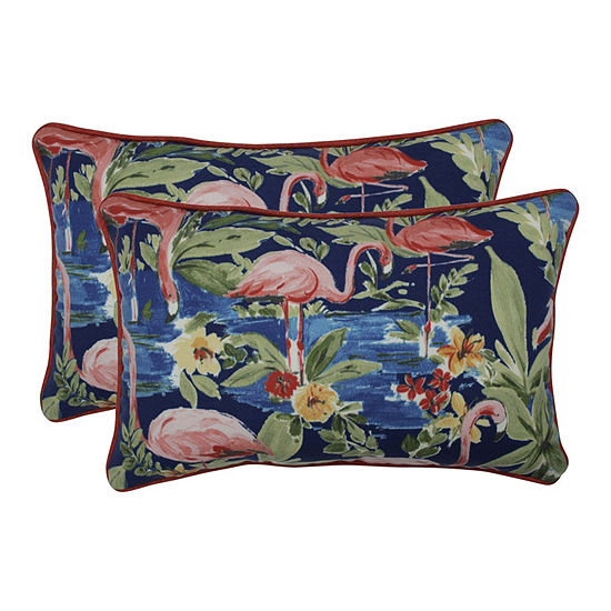 Pillow Perfect Flamingoing Lagoon Set of 2 Rectangular Outdoor Throw Pillows