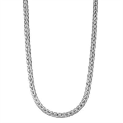 Sterling Silver Solid Wheat 20 Inch Chain Necklace