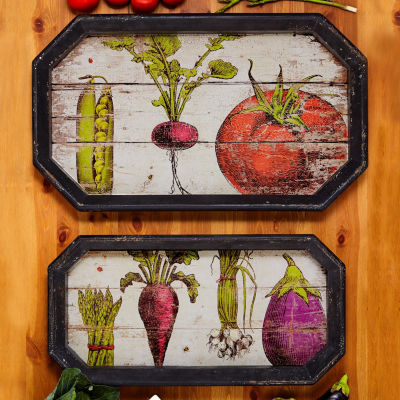 Two's Company Farm To Table Set Of 2 Gallery Trays