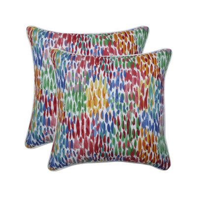 Pillow Perfect Make It Rain Zinnia Set of 2 18.5-Inch Outdoor Throw Pillows