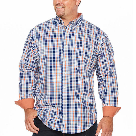 IZOD Big and Tall Premium  Essential Wovens Mens Long Sleeve Plaid Button-Front Shirt